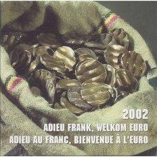 BELGIJA 2002 m. OFICIALUS EURO MONETŲ SU SUGADINTAIS FRANKAIS RINKINYS