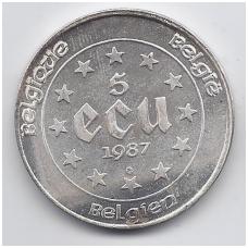 BELGIJA 5 ECU 1987 KM # 166 VF