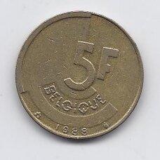 BELGIJA 5 FRANCS 1988 KM # 163 VF