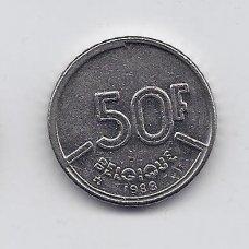 BELGIJA 50 FRANCS 1988 KM # 168 VF