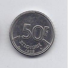 BELGIJA 50 FRANCS 1989 KM # 168 VF