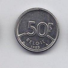 BELGIJA 50 FRANCS 1989 KM # 169 VF