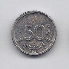 BELGIJA 50 FRANCS 1990 KM # 168 VF