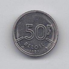 BELGIJA 50 FRANCS 1991 KM # 169 VF