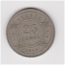 BELIZAS 25 CENTS 1980 KM # 36 VF