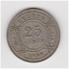 BELIZAS 25 CENTS 1988 KM # 36 VF