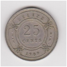 BELIZAS 25 CENTS 1989 KM # 36 VF