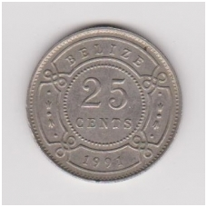 BELIZAS 25 CENTS 1991 KM # 36 VF