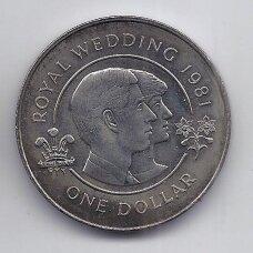 BERMUDA 1 DOLLAR 1981 KM # 28 AU Karališkos vestuvės
