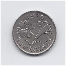 BERMUDA 10 CENTS 1970 KM # 17 VF