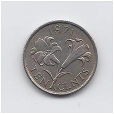 BERMUDA 10 CENTS 1971 KM # 17 VF