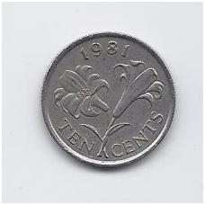 BERMUDA 10 CENTS 1981 KM # 17 VF