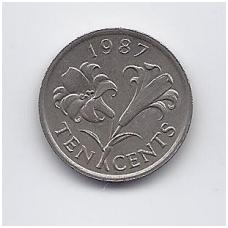 BERMUDA 10 CENTS 1987 KM # 46 VF