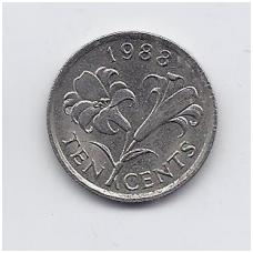 BERMUDA 10 CENTS 1988 KM # 46 VF