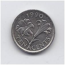 BERMUDA 10 CENTS 1990 KM # 46 VF