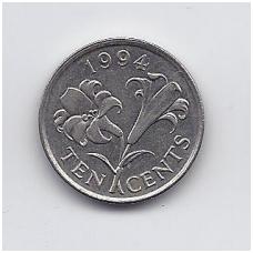 BERMUDA 10 CENTS 1994 KM # 46 VF