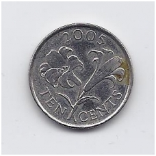BERMUDA 10 CENTS 2005 KM # 109 VF
