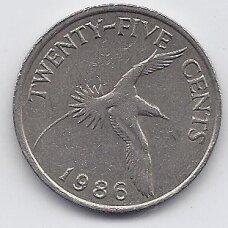 BERMUDA 25 CENTS 1986 KM # 47 VF