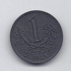 BOHEMIJA IR MORAVIJA 1 KORUNA 1943 KM # 4 VF
