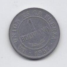 BOLIVIJA 1 BOLIVIANO 1987 KM # 205 F/VF