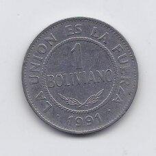 BOLIVIJA 1 BOLIVIANO 1991 KM # 205 VF