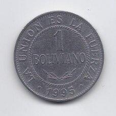 BOLIVIJA 1 BOLIVIANO 1995 KM # 205 VF
