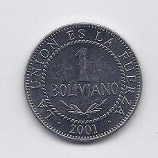BOLIVIJA 1 BOLIVIANO 2001 KM # 205 VF