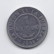 BOLIVIJA 1 BOLIVIANO 2008 KM # 205 VF