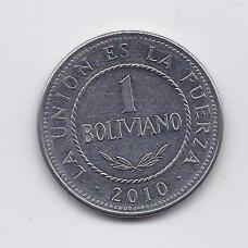 BOLIVIJA 1 BOLIVIANO 2010 KM # 217 VF