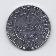 BOLIVIJA 1 BOLIVIANO 2012 KM # 217 XF