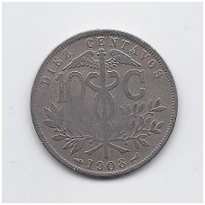 BOLIVIJA 10 CENTAVOS 1908 KM # 174 VF