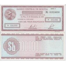 BOLIVIJA 100 000 PESOS BOLIVIANOS 1984 P # 188 AU