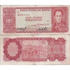 BOLIVIJA 100 PESOS BOLIVIANOS 1962 P # 163 VF