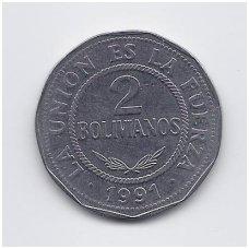 BOLIVIJA 2 BOLIVIANOS 1991 KM # 206.1 VF