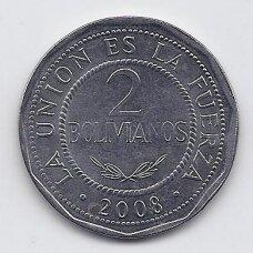 BOLIVIJA 2 BOLIVIANOS 2008 KM # 206.2 XF