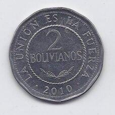 BOLIVIJA 2 BOLIVIANOS 2010 KM # 218 XF