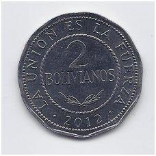 BOLIVIJA 2 BOLIVIANOS 2012 KM # 218 XF