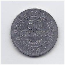 BOLIVIJA 50 CENTAVOS 1987 KM # 204 VF