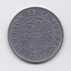 BOLIVIJA 50 CENTAVOS 1995 KM # 204 VF