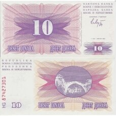BOSNIJA IR HERCEGOVINA 10 DINARA 1992 P # 10 UNC