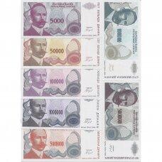 BOSNIJA IR HERCEGOVINA 1992-1993 m. 7 banknotų rinkinys P # 149-155 UNC