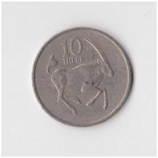 BOTSWANA 10 THEBE 1977 KM # 5 VF