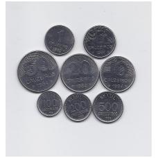 BRAZILIJA 1979 - 1986 8 monetų rinkinukas  (XF - AU)
