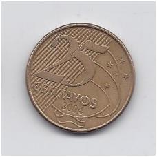 BRAZILIJA 25 CENTAVOS 2004 KM # 650.1 VF