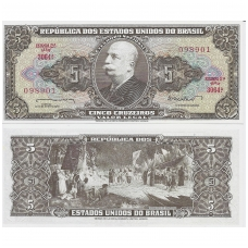 BRAZILIJA 5 CRUZEIROS 1962 P # 176 UNC