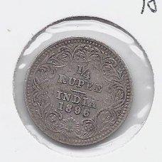 BRITŲ INDIJA 1/4 RUPEE 1896 KM # 490 VF