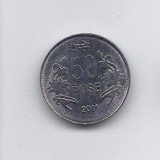 INDIJA 50 PAISE 2011 KM # 398 AU