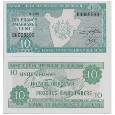 BURUNDIS 10 FRANCS 2001 P # 33d UNC
