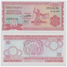 BURUNDIS 20 FRANCS 2001 P # 27d UNC