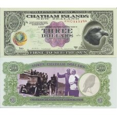 ČATHAMO SALOS 3 DOLLARS 1999 P # N/L AU (suvenyrinis banknotas)